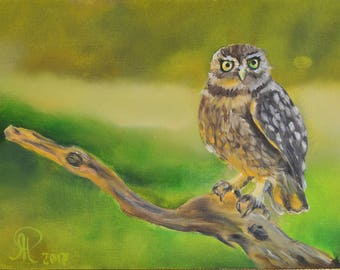 owl painting , nursery art , bird art