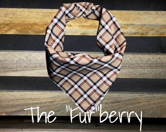 "The ""Fur""berry Burberry Plaid / Reversible Snap-On Dog Bandana"