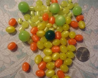 Lot of Vintage, New Old Stock, Mixed Color, Shape and Size Moon Glow Beads, 2 oz., Jewelry Supply, Beading Component, Craft Supply