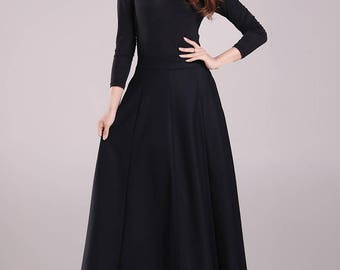 Black skirt  Woolen skirt High waisted skirt Long skirt