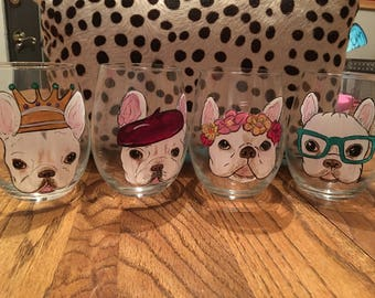 french bulldogs on wine glasses, custom painted stemless wine glasses