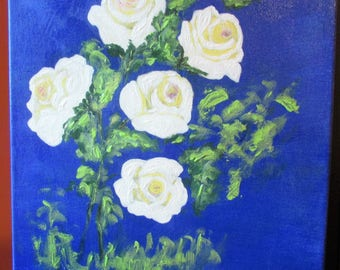 White roses original acrylic painting