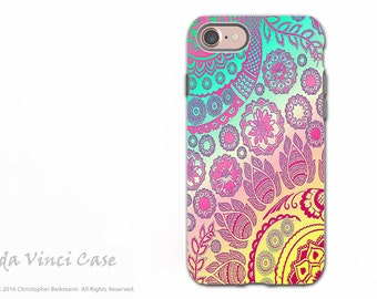 Pink Pastel Paisley - Artistic iPhone 7 and iPhone 8 Tough Case - Dual Layer Protection - Cotton Candy Mehndi - As seen on Blackish Season 2
