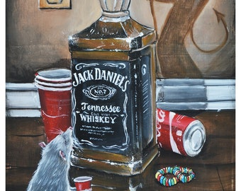 JEREMY WORST Devil's Choice Jack daniels original painting artwork art urban rat cool thirsty