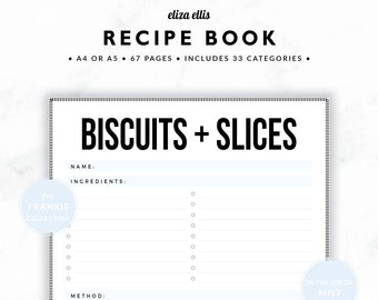 RECIPE BOOK / Recipe Planner / 2018 Planner / Recipe Printable / Recipe Pages / Recipe Journal / The Frankie Planners in Mist / 421