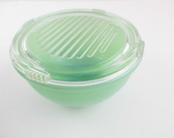 "A 5"" Bead Rim Bowl With Glass Lid - Rimmed - Jadeite Green From 'Fire-King' - Glass Lidded Bowl -'Fire-King Oven Ware Made in USA' Bowl"