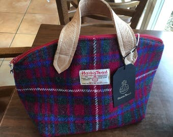 Harris Tweed handbag purse with real leather handles and accents.  Zip top, Lola Swoon pattern, traditional Scottish fabric in red tartan