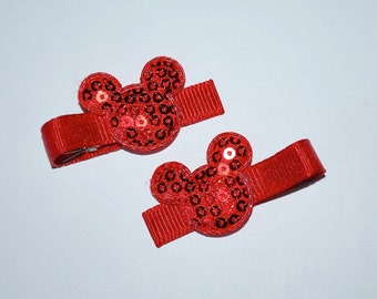 Mickey Mouse Red Sequin Hair Clips - Buy 3 Items, Get 1 Free
