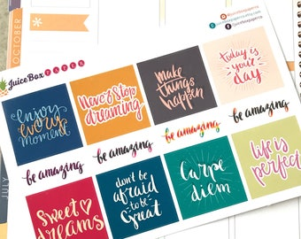 12 Positive Motivational Quote Stickers for Planners, Calendars, Journals