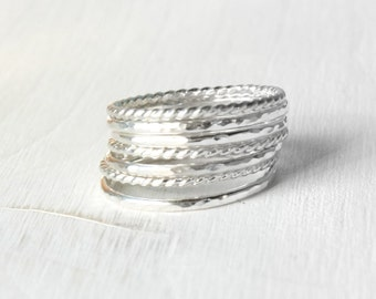 GET 1 FREE WITH Seven Stacking silver rings / hammered and twisted wire stacking rings in shiny silver / silver stacking rings Handmade