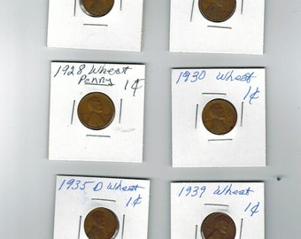 6 old U.S. coins Lincoln wheat pennies . 1917 to 1939  ---  L-17