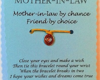 Mother-in-Law Gift, Wish Bracelet, Charm bracelet, Mum-in-Law Bracelet, Friendship Bracelet, Keepsake Card, Mothers day gift, mum gift