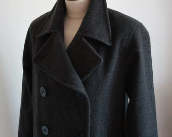 Grey Double Breasted 100% Merino Wool Peacoat by J Percy - Size US 6 - Made in USA