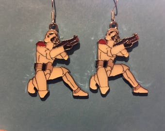 Large Storm Trooper Star Wars Earrings    AJ11