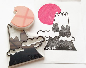 sunrise & mount fuji rubber stamps | japan stamp | snowy mountain sun | diy | new year card making | hand carved by talktothesun | set of 2