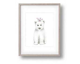 Polar Bear Nursery Art, Pink and Grey Nursery, Gir Nursery, Crown, Animal Print, Childrens Art, Nursery Art, Wall Decor, Painting