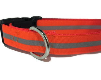 Dog Collar, Reflective, 1 inch wide, adjustable, quick release, medium, 13-19 inches
