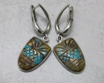 Rare Pilot Mt. Turquoise Sterling Silver Lever Back Earrings - Storm Element - by Silla - TLLE1