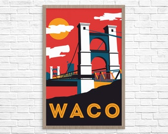 Waco Suspension Bridge Poster 24x36