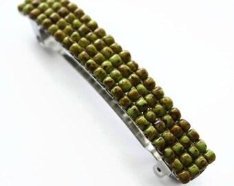Apple Green French Barrette, Beaded Hair Barrette For Long Hair, Spring Summer Hair Accessory