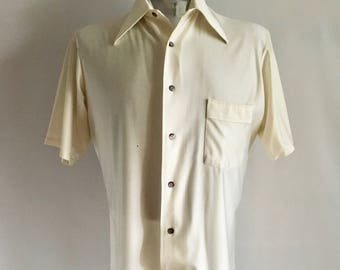 Vintage Men's 70's Disco, Pearl White, Shirt, Short Sleeve, Button Down by Van Heusen (L)