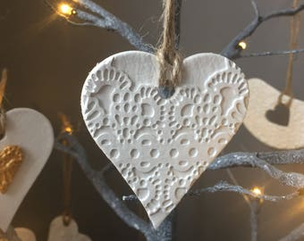 Small white lace embossed hanging heart decoration