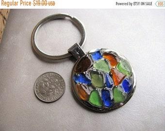 Mothers Day Sale Beach Items - Sea Glass Keychain -  Beach Glass Keychain - Silvertone Key Fob - Hostess Gift - Ocean Gift - Bridal Gift - M