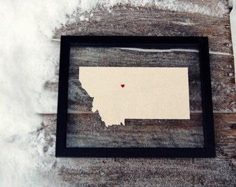 MONTANA 8x10 Map Gift * Custom Framed Handmade Canvas Art * State & City * Moving Birthday Wedding Anniversary Graduation Engagement