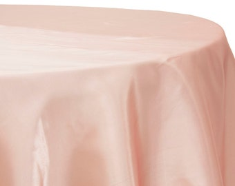 120 Inch Round Satin Tablecloth Blush Pink | Wedding Tablecloth