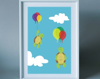 Balloon ride - wall art print for children's room, nursery or the home