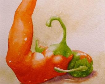 Art Print Chili Peppers Kitchen Art Watercolor Print Chili