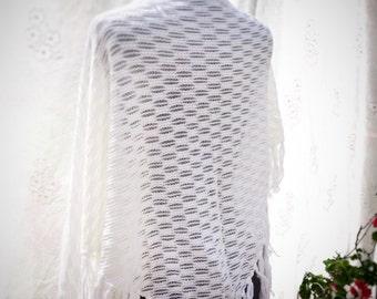 Vintage knitted shawl, boho wedding