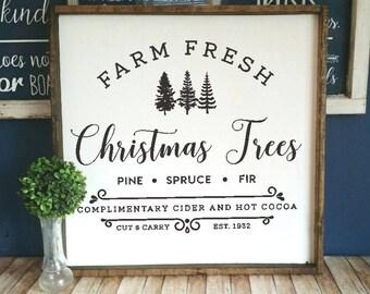 DIY Farmhouse style decal, Farm Fresh Christmas trees sign, Farm Fresh trees decal,  Farmhouse Christmas decal, christmas trees vinyl decal