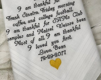 40 words of your choice. Father's Wedding embroidered handkerchief. Free handmade matching gift box with each handkerchief order.