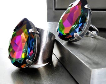 Large Teardrop Rainbow Crystal Ring, Vitrail Swarovski Crystal Pear Shape Adjustable Cocktail Ring, Wide Cuff or Thin Band, Unisex Mens Ring