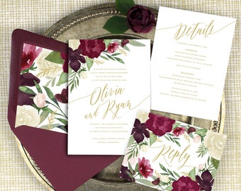 burgundy floral wedding invitations burgundy and gold invitations elegant wedding watercolor invitations printed invitations