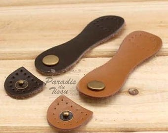 2 x leather clasp snap fasteners to sew bag