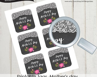 Printable tags. Mother's day Blackboard tag Instant download High quality file pdf 0514