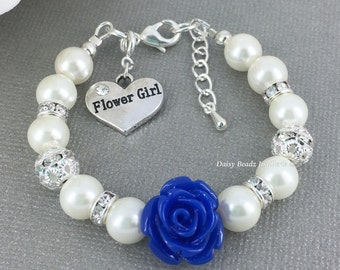 Royal Blue Flower Girl Bracelet Flower Girl Jewelry Flower Girl Gift for Her Pearl Bracelet Charm Bracelet Girl Jewelry Wedding Gift FG101