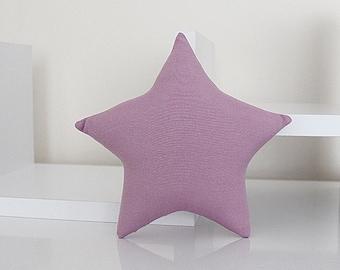 Mini STAR PILLOW CUSHION - Solid Cotton - Purple - Nursery Baby Room Decor Decoration - Soft Toy
