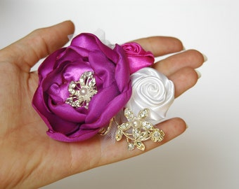 Wedding hair accessory/ Wedding hair flower/ Wedding hair barrette/ Bridal hair accessories/ Bridal hair comb in violet, pink and white