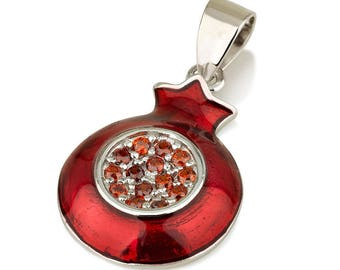 Pomegranate Pendant With Sterling Silver 925 Necklace