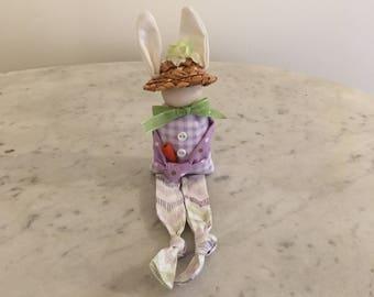 Primitive Easter bunny shelf sitter, Easter decoration, Soft fabric rabbit, Primitive Easter decor