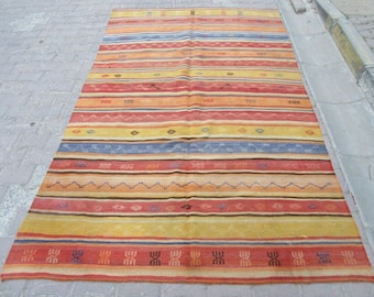 5.6x9.2 Ft Striped colorful vintage Turkish kilim rug
