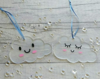 Kawaii Style Cloud, Hanging Cloud, Nursery Decor, New Baby, Baby Shower, Acrylic Hanging Cloud
