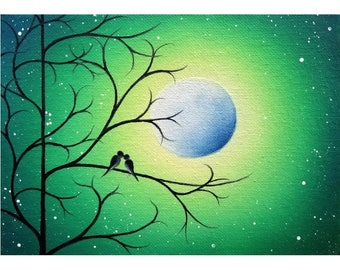 Birds on Tree Branch Wall Art, Love Birds Print, Green Night, Full Moon, Whimsical Home Decor, Engagement Gift for Bride, Valentine's Day
