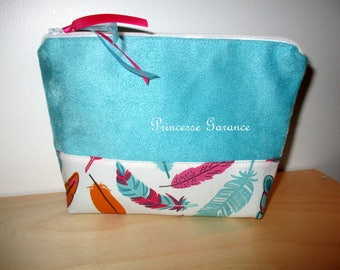 Christmas * clutch makeup, travel, turquoise, cotton - suede in stock