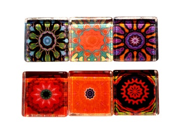 Psychedelic Bright Color Fridge Magnets - Glass Magnets - Set of 6 Magnet Sets - Perfect Hostess, Housewarming Gift - Home Decor