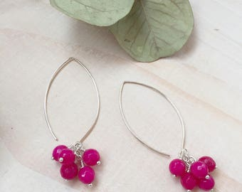 Faceted Hot Pink Agate and Sterling Silver Cluster Earrings