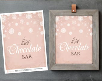 Baby Shower Decor, Hot Chocolate Sign, Acrobat PDF Hot Cocoa Bar Sign, Printable, Christmas Party, DIY Oh Baby Its Cold, Party Printables